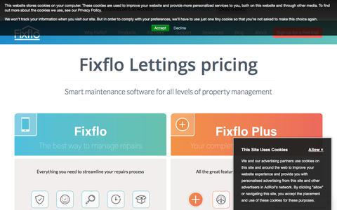 Screenshot of Products Page fixflo.com - Products and Pricing | Fixflo - captured Aug. 14, 2018