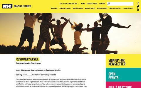 Screenshot of Support Page nsc.ac.uk - Customer Service - captured Feb. 15, 2018