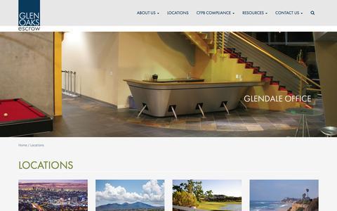 Screenshot of Locations Page glenoaksescrow.com - Locations - Glen Oaks Escrow - captured Dec. 9, 2015