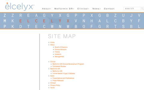 Screenshot of Site Map Page elcelyx.com - Site Map - Elcelyx - captured Nov. 1, 2017