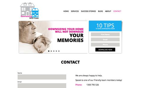 Screenshot of Contact Page downsizingwithease.com.au - Contact | Downsizing with Ease - captured Oct. 29, 2014