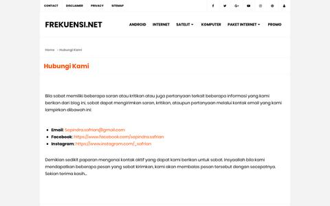 Screenshot of Contact Page frekuensi.net - Hubungi Kami - Frekuensi.net - captured Nov. 26, 2018