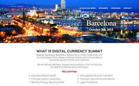 Screenshot of Home Page digitalcurrencysumm.it - Digital Currency Summit - Barcelona 2015 - captured Feb. 9, 2016