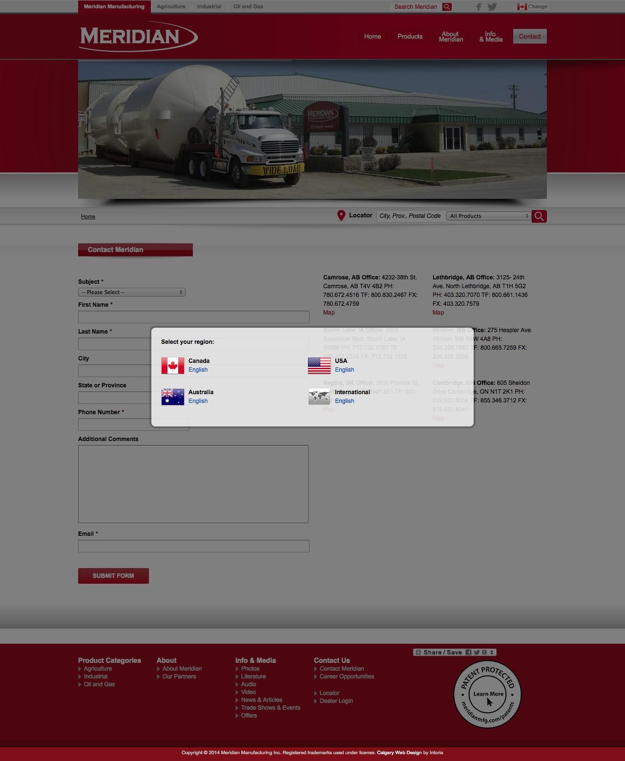 Screenshot of meridianmfg.com - Contact Information - MERIDIAN® - captured Oct. 1, 2014