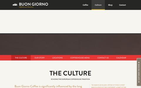 Screenshot of Contact Page Locations Page myshopify.com - Culture – Buon Giorno Coffee - captured Sept. 18, 2014