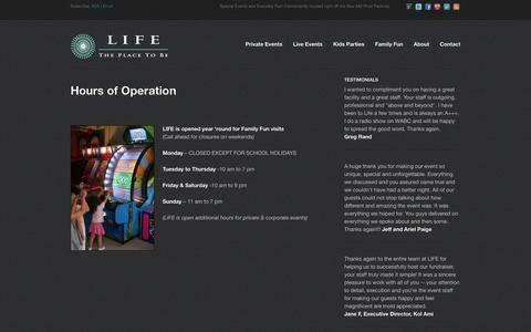 Screenshot of Hours Page lifetheplacetobe.com - Hours of Operation | Life The Place To Be - captured March 8, 2016