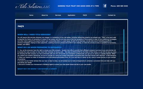 Screenshot of FAQ Page e-titlesolutions.com - e-Title Solutions - captured Oct. 3, 2014