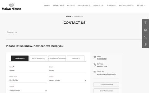 Screenshot of Contact Page malwanissan.co.in - Malwa Nissan | Contact us for any Feedback or Complaint - captured Oct. 1, 2018