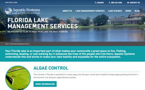 Screenshot of Services Page aquaticsystems.com - Florida Lake and Wetland Management Services | Aquatic Systems - captured Oct. 4, 2018