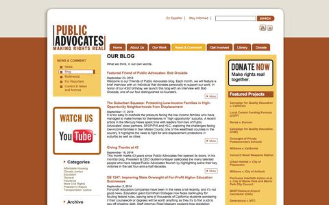 Screenshot of Blog publicadvocates.org - Our Blog | Public Advocates Inc. - captured Sept. 30, 2014