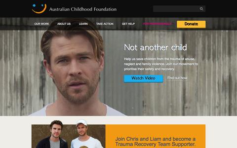 Screenshot of Home Page childhood.org.au - Australian Childhood Foundation - captured Oct. 4, 2014