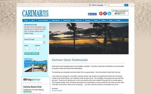 Screenshot of Testimonials Page carimar.com - My Vacation to Anguilla   Anguilla Resort Testimonials - captured Nov. 10, 2018