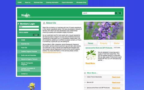 Screenshot of About Page nashoils.co.uk - Nash Oils natural ingredients > About Us - captured Oct. 27, 2014