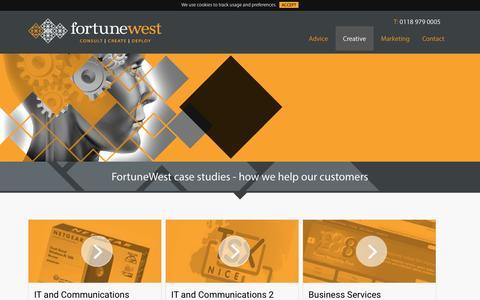 Screenshot of Case Studies Page fortunewest.co.uk - Case studies - captured Feb. 4, 2016