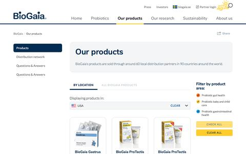Screenshot of Products Page biogaia.com - Biogaia Probiotics - products for gut health and oral health - captured Oct. 10, 2017