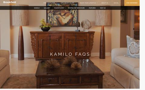 Screenshot of FAQ Page brookfieldhawaii.com - Kamilo FAQ – New Homes in Hawaii - captured Jan. 3, 2017