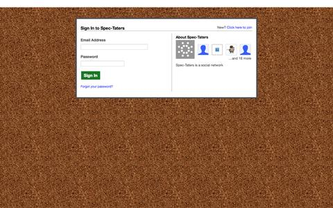 Screenshot of Login Page spec-taters.com - Spec-Taters - captured Oct. 6, 2014