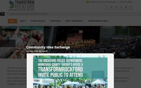Screenshot of Home Page transformrockford.org - TransformRockford - captured Aug. 18, 2016
