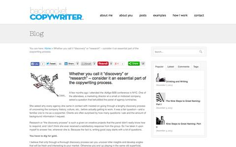 Screenshot of FAQ Page backpocketcopywriter.com - Great copywriting starts with research | Backpocket Copywriter - captured Sept. 30, 2014