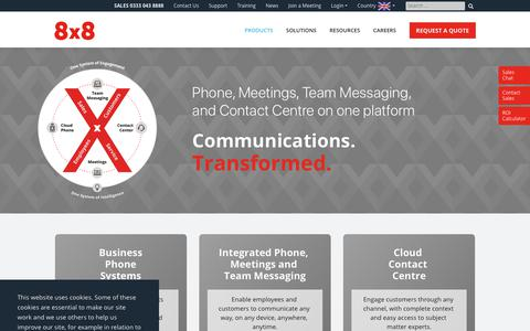 Screenshot of Products Page 8x8.com - Business VoIP | Business Phone Services | 8x8, Inc. - captured April 17, 2019