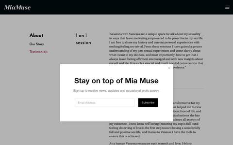 Screenshot of Testimonials Page miamuse.com - Testimonials — Mia Muse - captured July 25, 2018