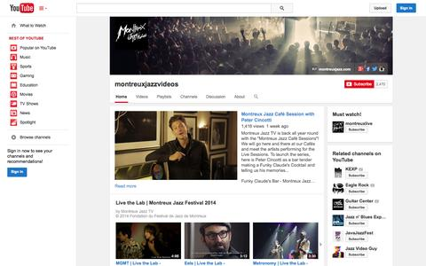 Screenshot of YouTube Page youtube.com - montreuxjazzvideos  - YouTube - captured Oct. 25, 2014