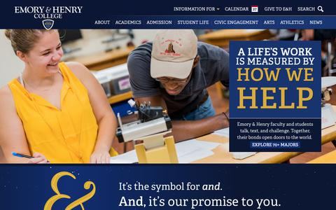 Screenshot of Home Page ehc.edu - Homepage  • Emory & Henry - captured Sept. 28, 2018
