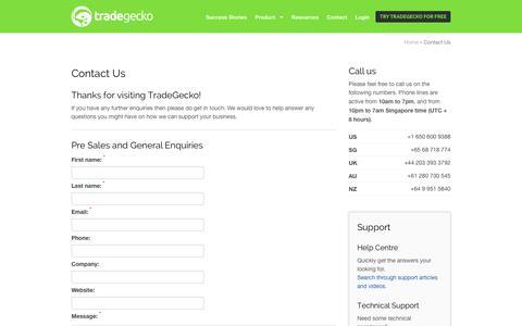 Screenshot of Contact Page tradegecko.com - Contact Us - TradeGecko Online Inventory Management Software - captured Sept. 17, 2014