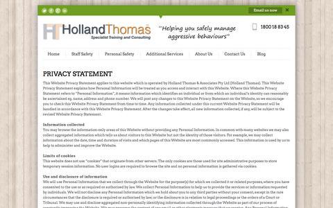 Screenshot of Privacy Page hollandthomas.com.au - Privacy | Manage Aggressive Behaviours - Staff Safety Training & Consulting - Holland Thomas - captured Nov. 10, 2016
