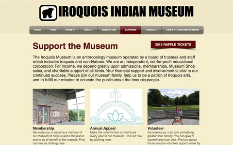 Screenshot of Support Page iroquoismuseum.org - Festivals, Calendar & Exhibits at the Iroquois Indian Museum NY - captured Nov. 26, 2016
