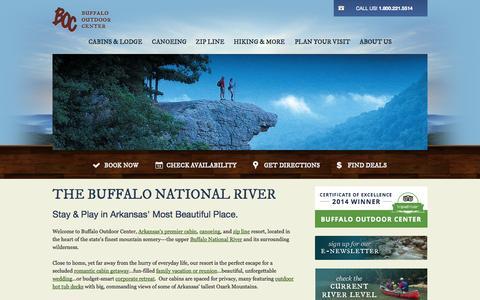 Screenshot of Home Page buffaloriver.com - Buffalo National River Cabins & Canoeing in Beautiful Ponca, Arkansas - captured Oct. 5, 2014