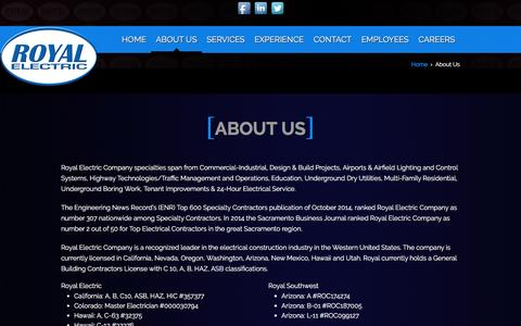 Screenshot of About Page royalelect.com - About Us | Royal Electric Company – Serving Northern California and the United States for over 30 years - captured Feb. 27, 2016