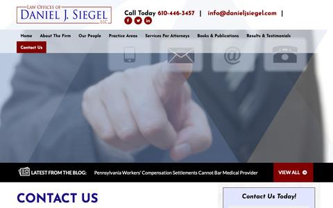 Screenshot of Contact Page danieljsiegel.com - Contact the Law Offices of Daniel J. Siegel, LLC in Havertown, PA - captured Sept. 27, 2018