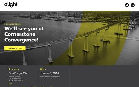 Screenshot of Landing Page alight.com - Join us at Cornerstone Convergence! | Alight Solutions - captured April 13, 2018