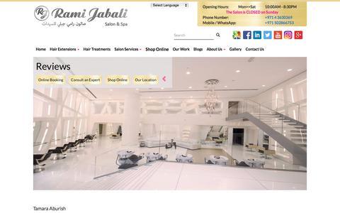 Screenshot of Testimonials Page ramijabali.com - Testimonials - Rami Jabali Salon & Spa - captured Nov. 4, 2017