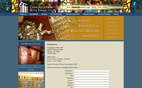 Screenshot of Contact Page beth-israel.org - Congregation Beth Israel - Reform Jewish Synagogue in Houston, Texas. Torah Teachings. The Shlenker School for Pre-K to Fifth Grade Children. Hebrew Religious School for Children and Adults. - captured Oct. 2, 2014