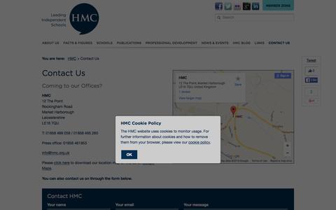 Screenshot of Contact Page hmc.org.uk - Contact Us - HMC - captured March 2, 2016