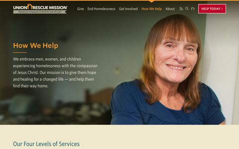 Screenshot of Services Page urm.org - Services - Union Rescue Mission - captured Sept. 29, 2018