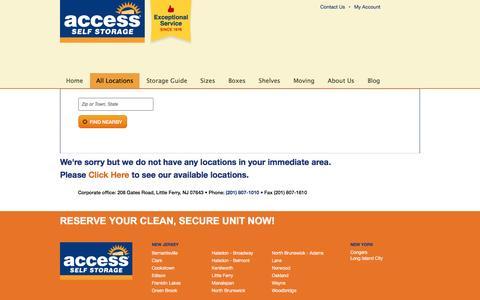 Screenshot of Locations Page accessselfstorage.com - Store Locator   Access Self Storage - captured Nov. 20, 2016
