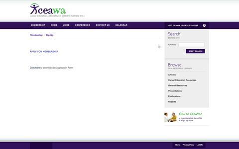 Screenshot of Signup Page ceawa.org.au - CEAWA > Membership > SignUp - captured Oct. 22, 2014