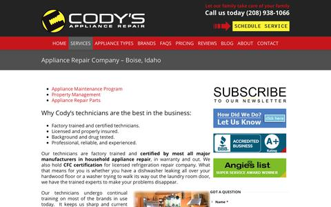 Screenshot of Services Page codysappliancerepair.com - Appliance Repair Company Services | Call 208-938-1066 for Service - captured July 20, 2018