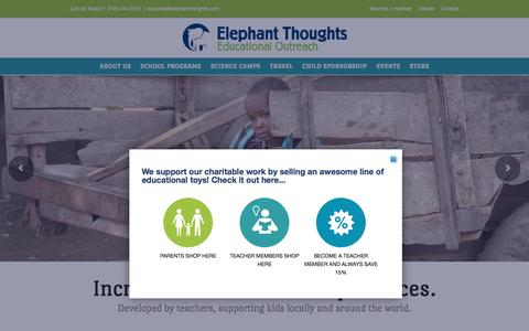 Screenshot of Home Page elephantthoughts.com - Elephant Thoughts - captured July 12, 2016