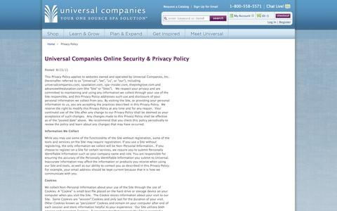 Screenshot of Privacy Page universalcompanies.com - Universal Companies Online Security & Privacy Policy - captured Oct. 26, 2014