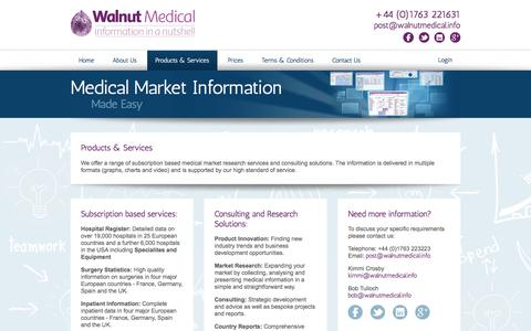 Screenshot of Products Page walnutmedical.info - Products and Services | Walnut Medical - captured Sept. 20, 2018