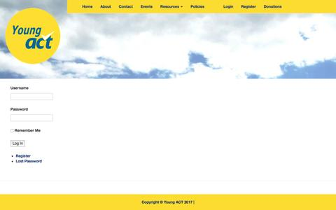 Screenshot of Login Page actoncampus.org.nz - Log In   Young ACT - captured May 28, 2017