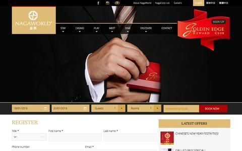 Screenshot of Signup Page nagaworld.com - Register - NagaWorld - captured Jan. 18, 2016