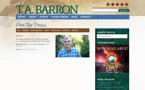 Screenshot of Press Page tabarron.com - Press Contact for T.A. Barron   TABarron.com - captured July 3, 2018