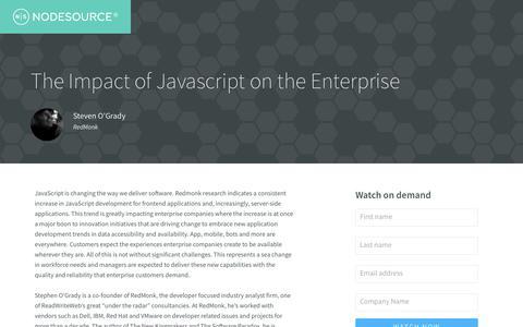 Screenshot of Landing Page nodesource.com - On demand: The Impact of Javascript on the Enterprise - captured April 9, 2018