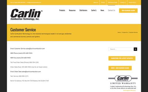 Screenshot of Support Page carlincombustion.com - Customer Service – Carlin Combustion Technology, Inc. - captured Oct. 25, 2016