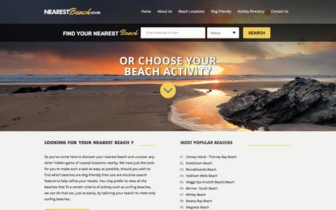 Screenshot of Home Page nearestbeach.co.uk - Looking for your Nearest Beach? Dog Friendly, Surf, Sandcastles & Sunbathing we have it all... - captured Sept. 24, 2014